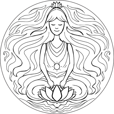 yoga meditation: Woman in yoga meditation pose. Coloring vector Mandala Illustration