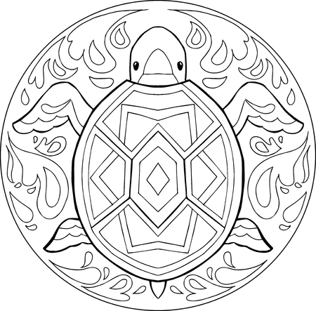 Decorative coloring mandalas with turtle in the water. Illustration