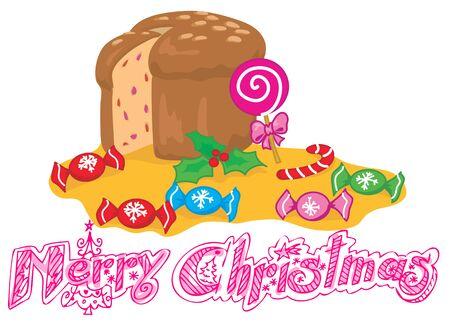 Merry Christmas with panettone, italian Christmas cake. Illustration