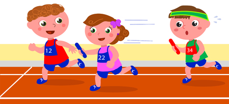 relay: Children young runners in a relay competition vector Illustration
