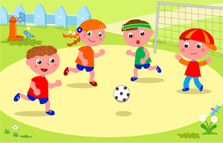 Friends playing soccer at the park.