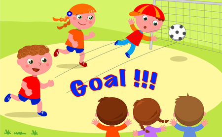 GOAL! Friends playing soccer at the park Illustration