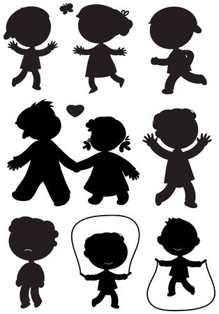 black boys: Nine boys and girls black vector icons Illustration