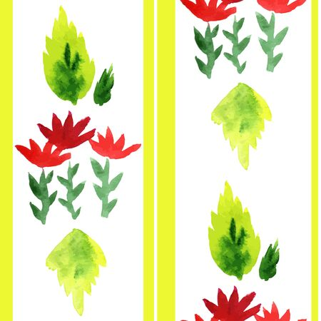 red leaves: Red flowers with green leaves, watercolor seamless vector pattern