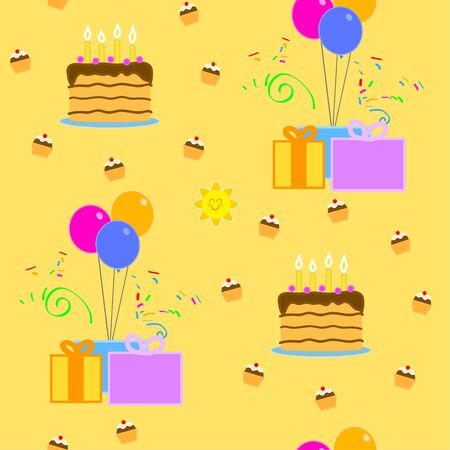 Birthday cake and presents. Yellow seamless pattern.