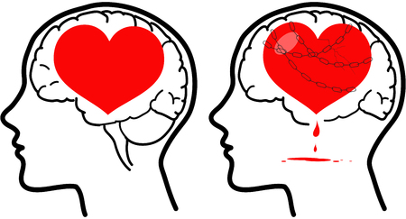Love and reason, brain and heart. Happy and unhappy version. Vector concept illustration