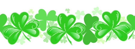 St Patrick horizontal decoration with green shamrocks. Seamless vector pattern