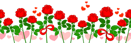 Red roses and pink hearts. Vector seamless horizontal patter for romantic Valentine. Illustration