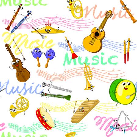flugelhorn: Cartoon music instruments and notes. Vector seamless patter for kids.