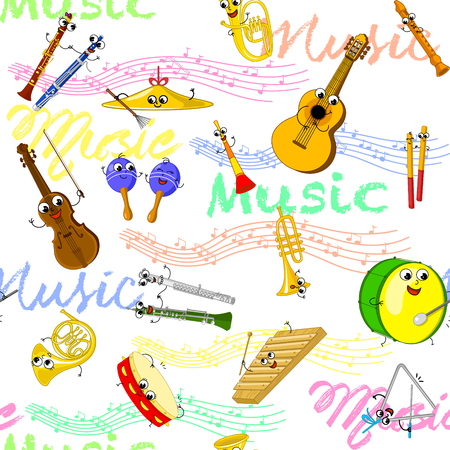 Cartoon music instruments and notes. Vector seamless patter for kids.