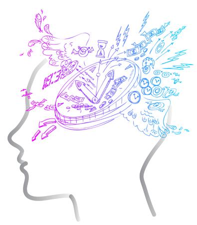 ストレス、ビジネス時間の落書きを人間の頭ベクトル。