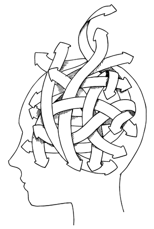 indecisive: Profile of man with a maze of thoughts. Concept vector illustration. Illustration