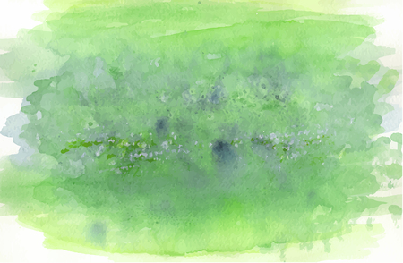 Green stained watercolored vector background with paint strokes visible Ilustração
