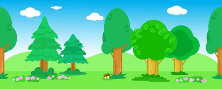 Madera de dibujos animados con árboles, flores, arbustos y setas, sin fisuras vector de paisaje de madera Ilustración de vector