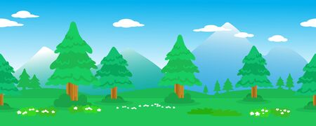 Seamless vector line of trees in mountainous landscape.