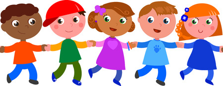 mates: Group of kids of different races in a seamless vector line Illustration