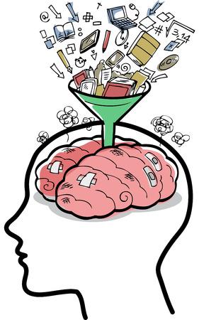 Vector concepto de una mente muy ocupado lleno de pensamientos