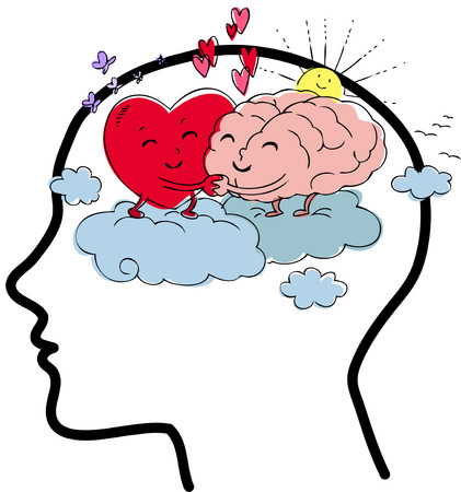 Human profile. Heart and brain embrace each other with love. Digital illustration about emotion and reason.