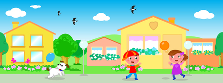 Colorful urban landscape with seamless line of houses and playing kids vector Illustration