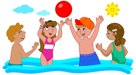 Summer holidays, four children playing with the ball, vector illustration
