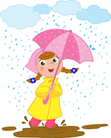 Smiling girl playing with mug in a rainy day. Vector illustration.