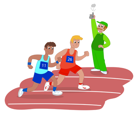 competitor: Athletes and starter on running race vector illustration