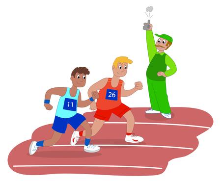 Atleti e starter sulla corsa illustrazione vettoriale di razza Vettoriali