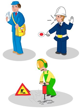 Postman, warden and building contractor, set of illustrated jobs Vectores