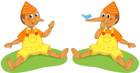 collodi: Italian traditional tale Pinocchio with normal nose and big lying nose, vector isolated on white Illustration