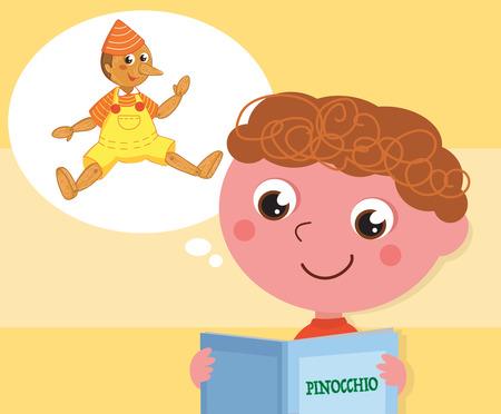 Cartoon child reading italian tale Pinocchio, vector illustration Illustration