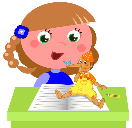 Cartoon child reading italian tale Pinocchio at school, vector illustration