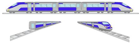 high speed train: High speed blue train illustration vector