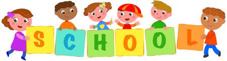 spolužák: Šest šťastných multikulturních dětí drží zpěvy s písmeny slovní školy. Vektorové ilustrace Ilustrace