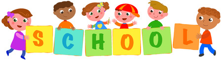 joyful: Six happy multiculture kids holding sings with the letters of the word school. Vector illustration Illustration
