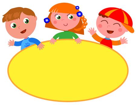 Three cartoon children with yellow oval empty label. Vector illustration Illustration