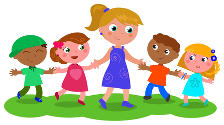 Cartoon teacher or baby-sitter with boys and girls, vector illustration isolated on white Ilustracja
