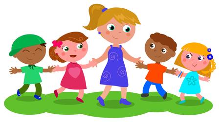 Profesor de dibujos animados o niñera con los niños y niñas, ilustración vectorial aislados en blanco