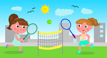sportive: Girls playing tennis in urban landscape, vector illustration