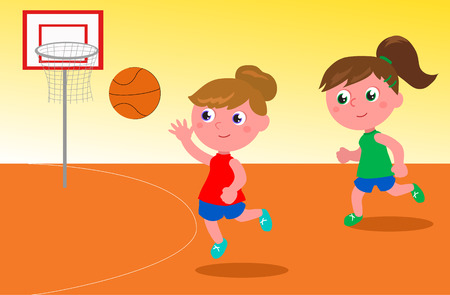 Two young women playing basketball cartoon vector illustration