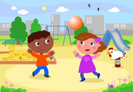 African and caucasian children playing at the playground vector illustration