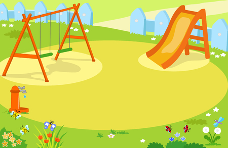 Cartoon playground with cute insects vector background illustration. 矢量图像
