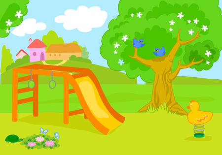 Cartoon country playground with cute birds vector background illustration.