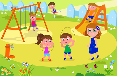 Group of children playing in a playground with a teacher or mother looking at them, vector illustration Illustration