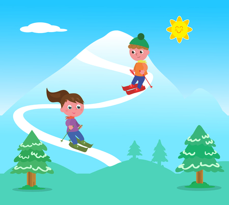 Cartoon boy and girl skiing on mountain landscape, vector illustration Illustration