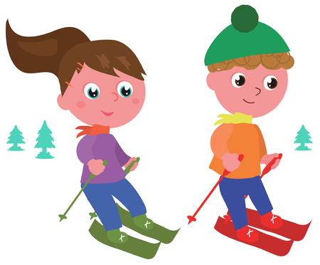 男の子と女の子は、白で隔離のベクトル図をスキー  イラスト・ベクター素材