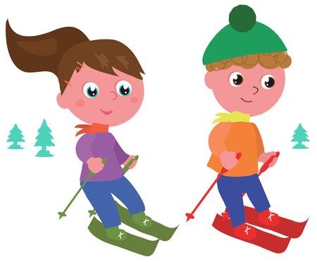 Boy and girl skiing vector illustration isolated on white