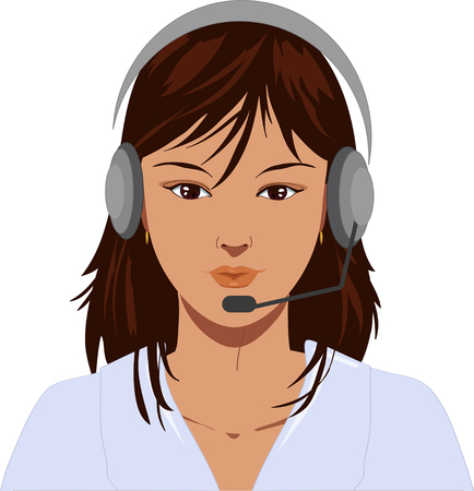 earphone: Beautiful telephone operator with earphone. Illustration
