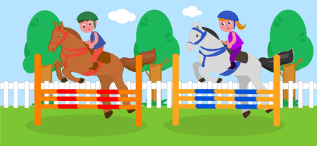 Boy and girl jumping obstacles with horses, vector illustration