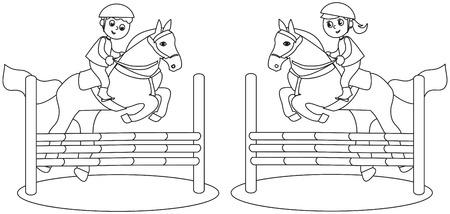 Garçon et fille sautant avec des chevaux, illustration vectorielle colorée Banque d'images - 80952054