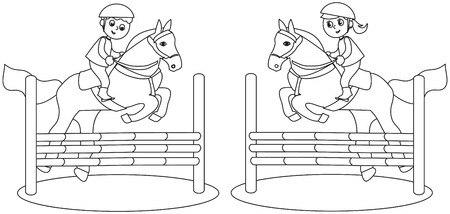 Boy and girl jumping with horses, coloring vector illustration